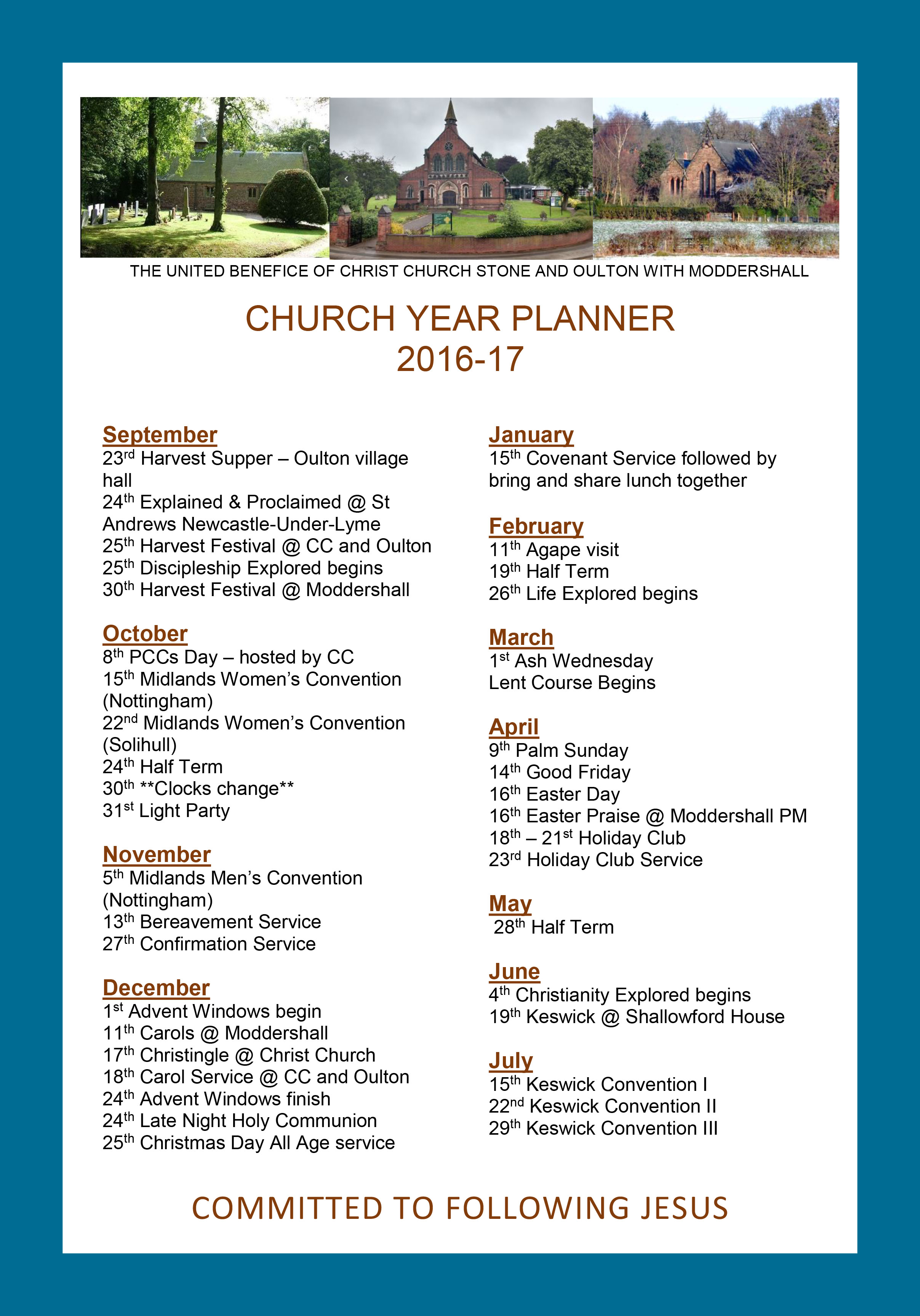 benefice family planner 2016 2017 christ church stone