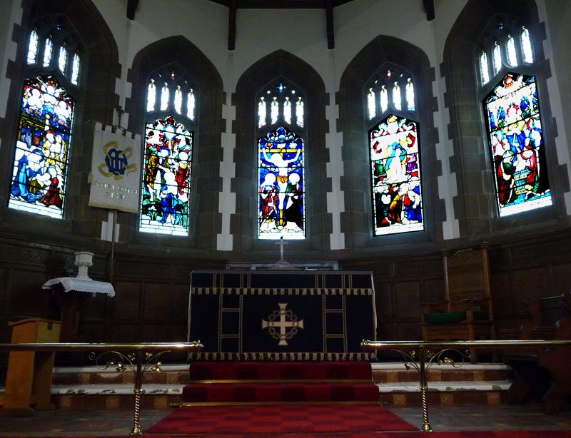The Main Stained Glass windows in the Chancel at Christ Church Stone